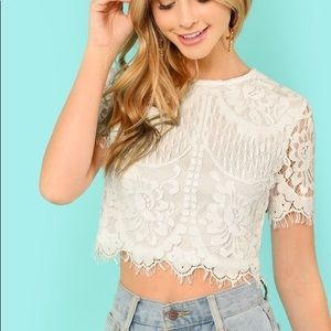 SHEIN Flower Embroidery Eyelash Lace Crop Top